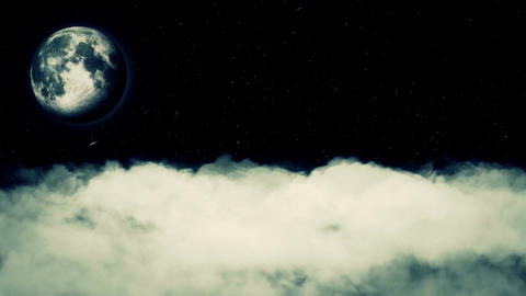 Moon Black Sky Real Clouds Stars Seamless Looped Footage Animation