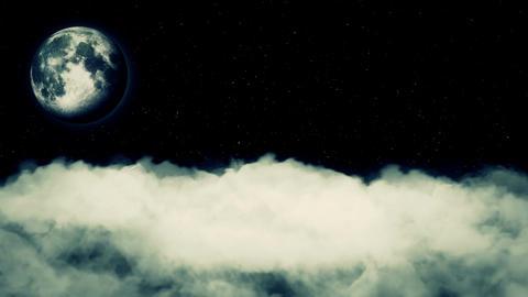Moon Black Sky Real Clouds Stars Seamless Looped Footage Stock Video Footage