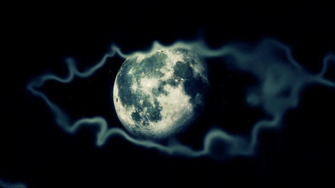 Moon Black Sky Clouds Stars Epic Footage Seamless Looped Animation