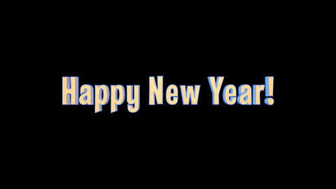 Happy New Year Merry Christmas Epic 3 D Gold Words + Alpha Channel Animación