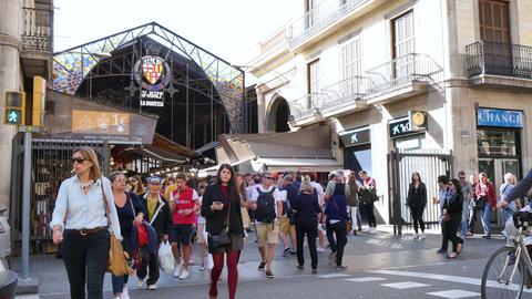 Crowded La Boqueria Marketplace in Barcelona Live Action