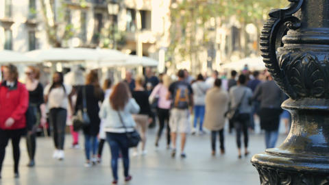 Crowded Barcelona City Center in Autumn Footage