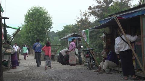 Nyaung Shwe, streetlife at the market Footage