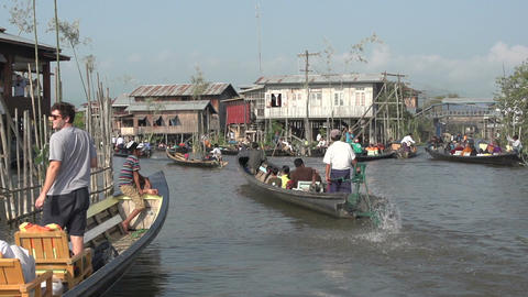 Nyaung Shwe, lots of long boats on Inle lake Footage