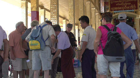 Inle lake, group of tourists at entrance temple Footage