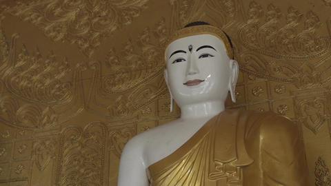 Pathein, Buddha Statue At The Shwemokehtaw Pagoda Footage