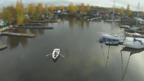 camera flying over the rowing boat Footage