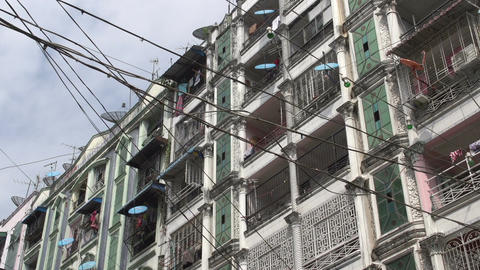 Yangon, big building with lots of satellite dishes Footage