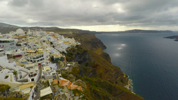 4k Pan Zoom Of Fira On Santorini stock footage