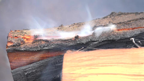 Burning Coal. Close up of Red Hot Coals Glowed in the Stove. 4K UltraHD, UHD Footage