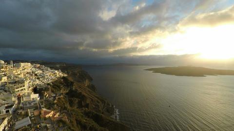 pan zoom of fira on santorini island Footage
