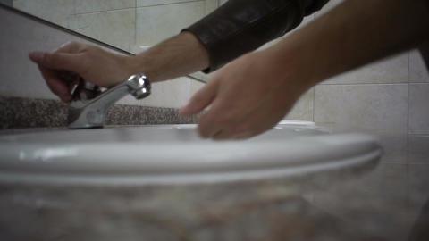 Public Bathroom Washing Hands Footage