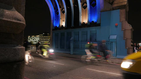 Tower Bridge Night Traffic Footage