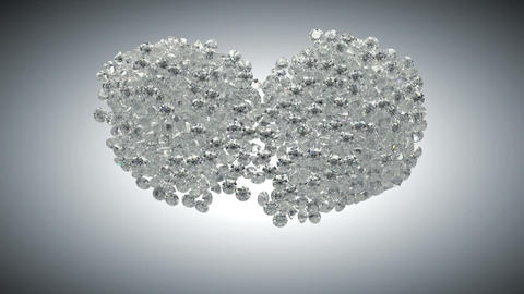 Large sparkling diamonds flow and heart shape. Alpha channel Animation