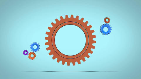 Mechanical coloured gear animation for intro and logo reveal presentation After Effects Template