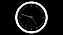 Animated Clock Countdown 12 Hours Over 60 Seconds. Seamlessly Loops. Time Lapse Footage