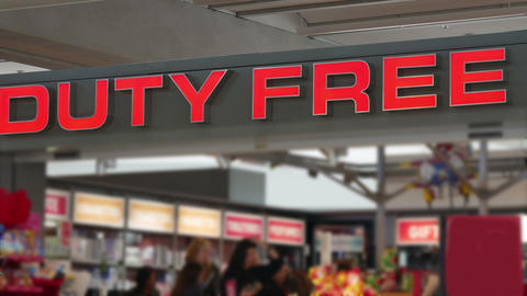 Duty-free shop sign over the entrance. No focus Footage