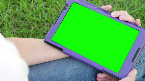 Blank Green Screen Tablet Pc Outside. Dolly Shot Footage