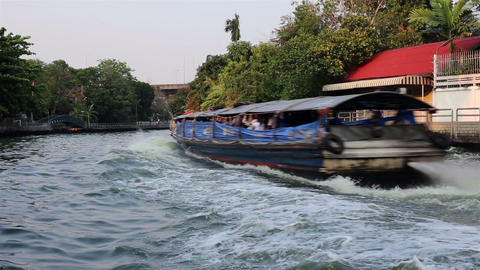 Bangkok Waterway And Fast Speed Riverboat Ride stock footage