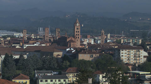 City View Of Alba And His Unique Towers, Italy (2) stock footage