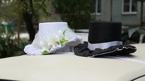 Wedding decorations on the car Footage