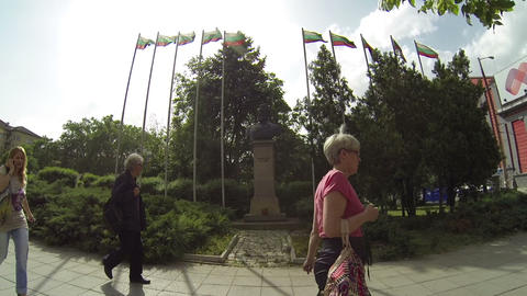 Statue with Bulgarian flags Footage