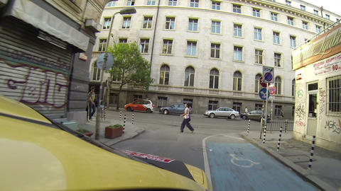 Traveling by taxi in Sofia, Bulgaria Footage