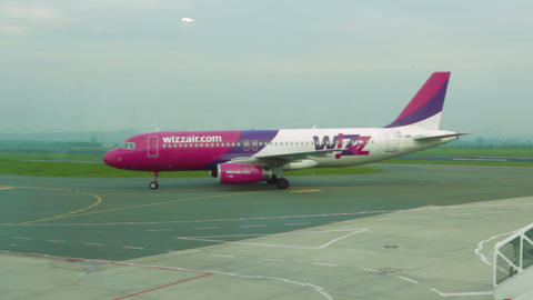 Wizzair Plane Taxiing On Dortmund Airport stock footage