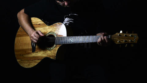 Guitarsit Playing Acoustic Guitar Footage