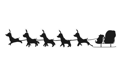 Flying Santa sleigh by reindeer animation design element for Christmas Animation