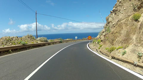 Driving Near The Ocean On Tenerife stock footage