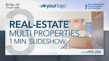 Real-Estate Multi Properties 1min Slideshow 3 – After Effects Template After Effects Template
