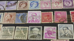 An international stamp collection. Hobby. Philately. Zoom out shot Footage