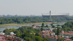 Warsaw. View at The National Stadium building and Vistula river Live Action