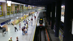 Platform of subway station. Daily life in Warsaw, Poland Footage