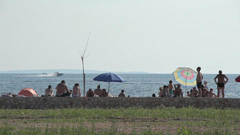 Seaside Beach Seaside Horizon Long Shot People 2 Footage