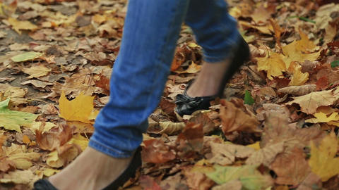 Woman walking cross country and trail in autumn forest Footage
