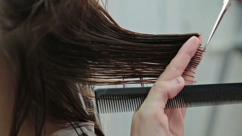 Hairdresser trimming brown hair with scissors Footage