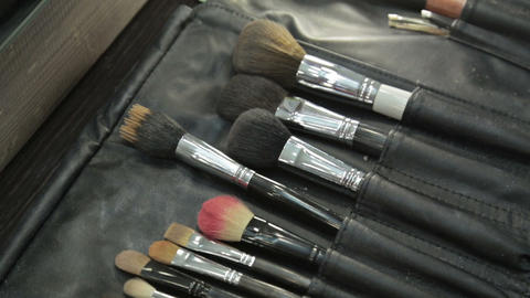 Different cosmetic brushes for makeup Footage