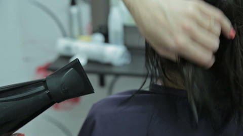 Hairstylist with brush and dryer. hairdresser drying hair of female client. Woma Footage