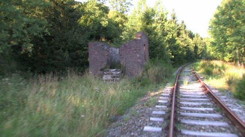 Ruin Near An Old Railroad Track stock footage