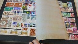 Watching an international stamp collection 4 Footage