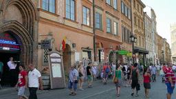 People in the old town. Warsaw, Poland Footage