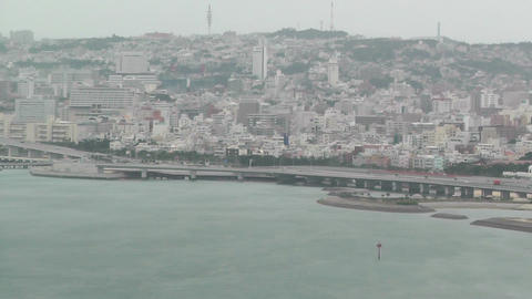 Okinawa City view from Airplane 02 handheld Stock Video Footage