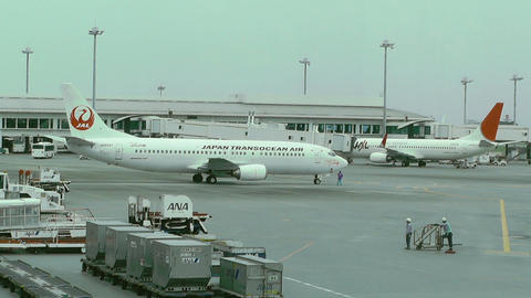 Okinawa Naha Airport 10 jal Stock Video Footage