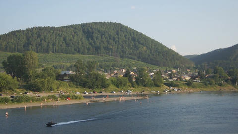 View on the coastline of the Mana river Footage