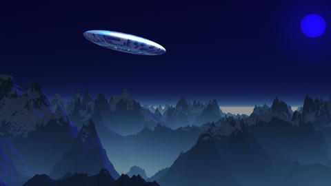 UFO in the sky of a blue planet Stock Video Footage
