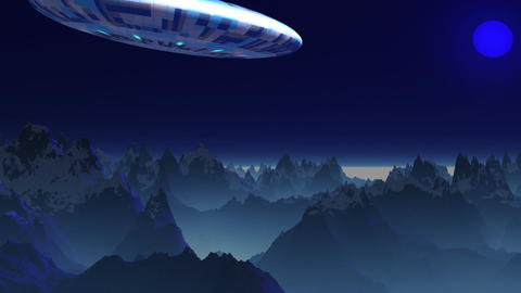 UFO in the sky of a blue planet Animation