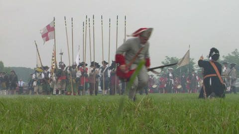 savoian french infantry battle 08 Stock Video Footage