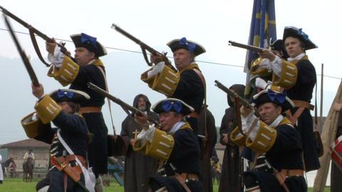 savoian infantry firing 09 Stock Video Footage